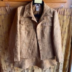 MAGGIE SWEET GOLD BROCADE SUIT SZ PETITE SMALL